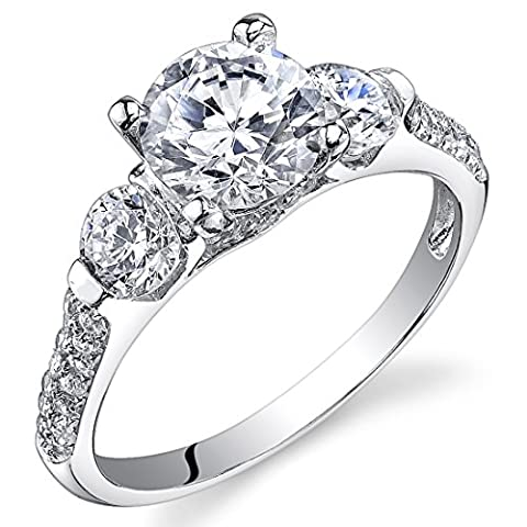 Revoni Sterling Silver 3 Stone Round Cut Simulated Diamond Engagement Ring Size P,