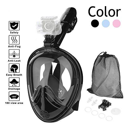 HOVNEE Máscara de Buceo,Máscara Snorkel Máscara para Buceo 180 ° tecnología panoránica, la Máscara de Snorkel de cámara Instalable para los Adultos,Adecuado para Interiores y Exteriores(L)