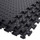 COSTWAY 12 Stück Schutzmatten Set Bodenschutzmatte Puzzlematte Unterlegmatte Fitnessmatte Gymnastikmatte Matte für Bodenschutz Farbwahl (Schwarz)