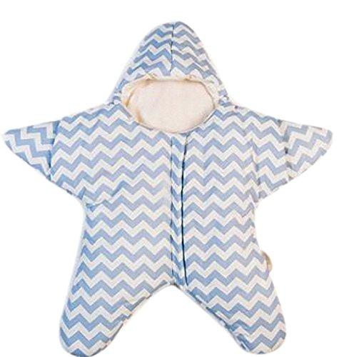 Gigoteuse bébé hiver nouveau né à pieds Coton Manches Longues -garcon -Fille pyjama enfant confort combinaison - Étoile de mer. (80*84cm, Bleu)
