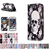 LA-Otter Coque Apple iPhone 5 5S Se Tete de Mort Fleur Flip Case Housse Etui à Rabat...