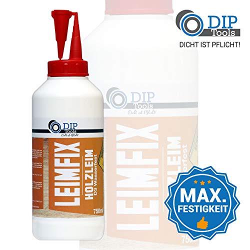 DIP-Tools LEIMFIX Holzleim mit schneller und maximaler Klebekraft - Geruchsarmer und wasserfester Leim in D3 Qualität aus der Komfortflasche - transparent nach Trocknung (750ml) -
