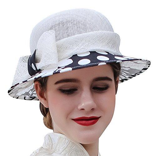 Koola's hats Damen Sinamay Hut Pinkmütze Strandhut Sommerhut Sonnenhut Perfekt für Hochzeit Abendparty Partyhüte Hochzeitshut Für Mutter der Braut (Weiß Schwarz) - Braut Mutter Der Hüte