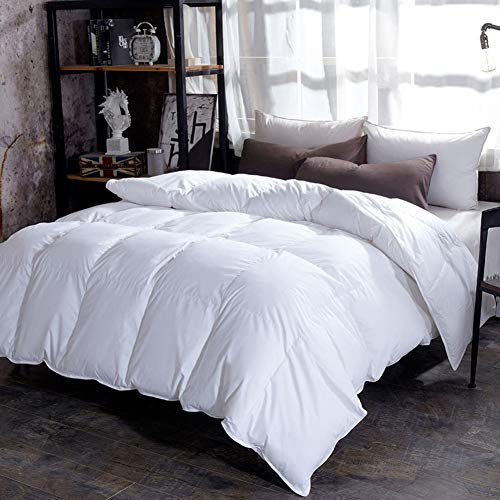King Duvet Insert (LULUKEKE 100% Duvet King Size All Seasons Duvet Insert Classic Quilt Hypoallergene 100% Cotton Shell Down Proof, Doppelbett,White,S)