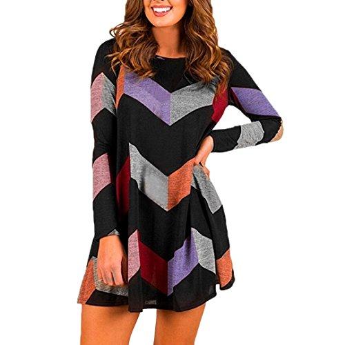 Kleid Damen Gestreiftes Langarm T-Shirt-Kleid mit Taschen Sannysis Damen Elegant Abendkleid Spitzenkleid Cocktailkleid Minikleid (sexy-Schwarz, S)