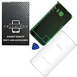 CELL4LESSⓇ Replacement for the iPhone X Back Glass Cover OEM Quality Back Door Replacement w/Camera Lens, Adhesive & Removal Tool (iPhone X White)
