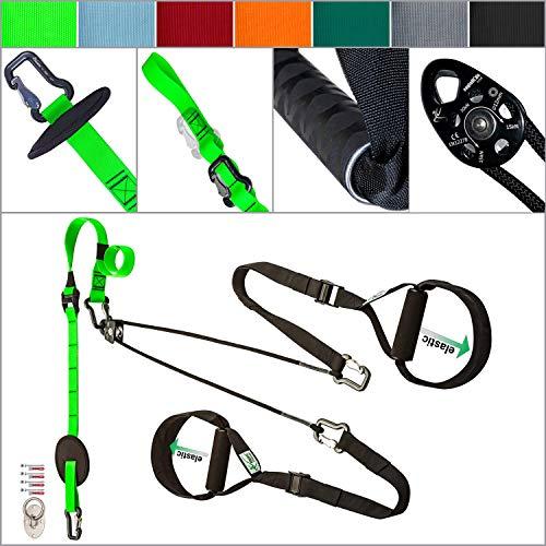 eaglefit Sling-Trainer EXCLUSIVE ALU elastic, Fitness-Gerät, Schlingentrainer inkl. Umlenkrolle & Türanker, Längenverstellung 160 - 360 cm, 350 kg belastbar, grün