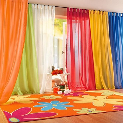 IYUEGO Rainbow Color Sheer Tab Top Curtains Draperies With Multi Size Customs 50 W x 84 L (One Panel) by IYUEGO -