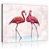 Welt-der-TräumeWANDBILD CANVASBILD Wandbild Leinwandbild Kunstdruck Canvas | Rosa Flamingos | O1 (100cm. x 75cm.) | Canvas Picture Print PP10199O1-MS | Natur Tier Tiere Vogel Vögel Flamingo Flamingos