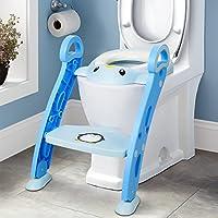 Amzdeal Aseo Asiento con Escalera, Escalera de Inodoro de niños plegable, Asiento para bebé con escalón ajustable y antideslizante, Orinal formación infantil, Azul
