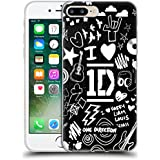 Official One Direction I Heart 1D Black Doodle Design Soft Gel Case for Apple iPhone 7 Plus