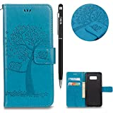 WIWJ Galaxy S7 Edge Handyhülle,Galaxy S7 Edge Hülle, Flip Wallet Schutzhülle Magnetic Case Hülle[Gedrucktes Muster Baum und Eule Handyhülle] Kreative Muster Design Bookstyle Tasche Hülle-Blau
