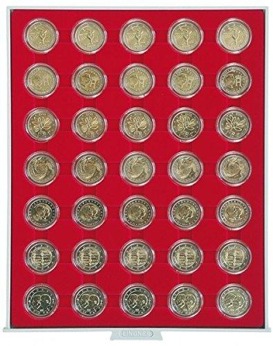 Münzbox STANDARD mit 35 runden Vertiefungen für Münzkapseln mit Außen-ؘ32 mm, z.B. für 2 Euro-Münzen in LINDNER Münzkapseln (2 Schubladen Tool Box)