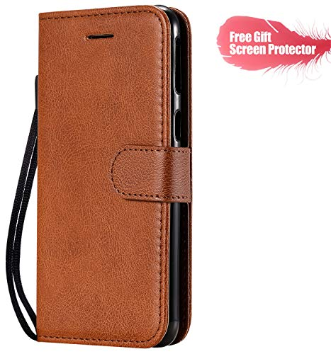 Fatcatparadise Cover Compatibile Nokia 4.2 [con Pellicola in Vetro Temperato], Cuoio Portafoglio Flip Case Conception Simple Wallet Case Custodia in PU Lussuosa Cover (Marrone)