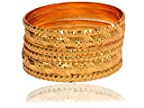 #6: Mansiyaorange Traditional Fancy Designer Casual Party Wedding Wear Original Hand Work One Gram Gold Six Golden Bangles Set For Women