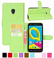 Alcatel U5 3G Case, HualuBro [All Around Protection] Premium PU Leather Wallet Flip Phone Protective Case Cover with Card Slots for Alcatel U5 3G Smartphone (Green)