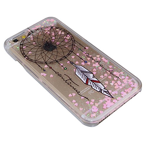 iPhone SE Coque ,iPhone 5S Coque,iPhone 5 Case,EMAXELERS Petite série Pink Heart dur Plastique Transparent Clair Liquide Glitter Bling Sparkles Deux plumes blanches Design Strass Cas Cover Coquille 3D Pink Heart Series 1
