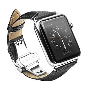 CoverKingz Leder Armband für Apple Watch Series 4/3/2/1, Lederarmband für 42mm/44mm, Edelstahl Butterfly Faltschließe, Leder Band Schwarz