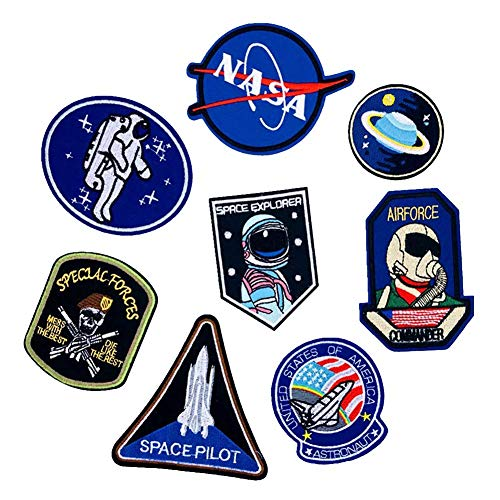 Aufnäher zum Aufbügeln Weltraum Astronaut und Flagge bestickt Motiv Applikation verschiedene Größen Dekoration Aufnähen DIY für Jeans, Jacken, Kleidung, Custom Badges 1 Set Custom Jeans Jacke