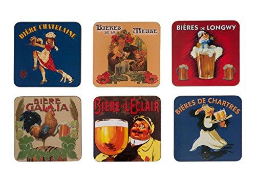Cartexpo 70821 - Juego de 6 Posavasos Madera y Corcho, diseo de Cervezas