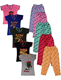 Krishy Creation Girls V-Neck Tops and Flowers Printed Pants (Set of 5)