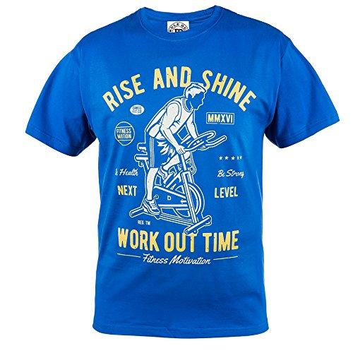 Rule Out T-shirt Abbigliamento sport. Rise E SHINE Workout time. FITNESS MOTIVANTE MAGLIETTA next level. PALESTRA allenamento. Arti Marziali Casual Abbigliamento SCOLASTICO Blu