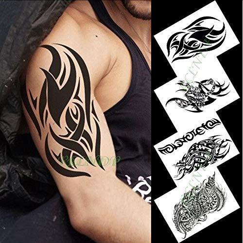 Tzxdbh autoadesivo del tatuaggio temporaneo impermeabile aquila leone tartaruga braccio nero tatto flash tatoo tatuaggi finti per le donne degli uomini