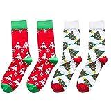 JUTOO 2pcs Weihnachten Frauen Baumwollsocken Multi-Color Damen Wintersocken