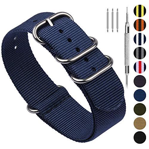 Fullmosa Nylon Uhrenarmband 24mm in 10 Farben, Zulu Serie Ersatzband mit verstellbarem Edelstahl Metall Schließe für Herren&Damen,Blau 24mm - Einschließlich Metall