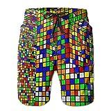 Nice Rubik's Cube World Men's Swimwear Beach Short Gym Home Pants Sports Yoga Sweatpants X-Large