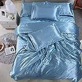 yaonuli Ice Silk vierteiliges Set aus Tencel-Bettbezügen hellblau 1,2 Bett 120 * 200 Bettbezug 150...