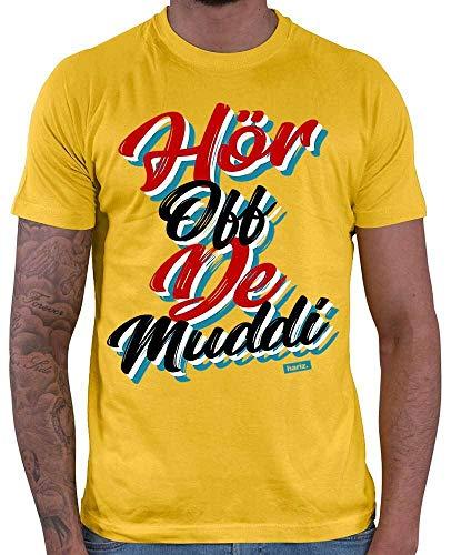HARIZ  Herren T-Shirt Hör Off De Muddi Sprüche Rot Schwarz Weiß Inkl. Geschenk Karte Gold Gelb ()