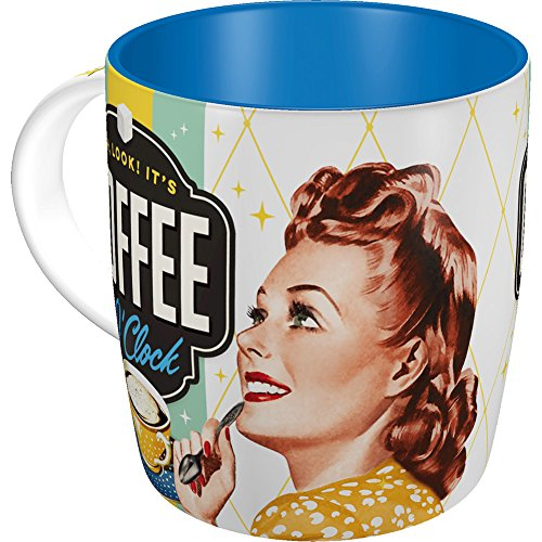 Nostalgic-Art 43019 Say it 50's - Coffee O' Clock   Retro Tasse mit Sprüchen   Kaffee-Becher   Geschenk-Tasse   Vintage