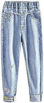 NOBRAND Jeans para niñas con Agujero Jeans para niños para niñas Jeans Rectos para niños Ropa para niños 6 8 1