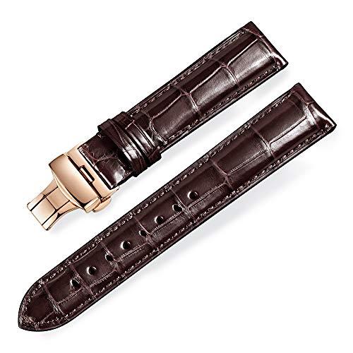 Alligator Leder Bambus Joint Ersatz Uhrenarmbänder mit Einsatz Rose Gold Buckle (20mm, Braun) -