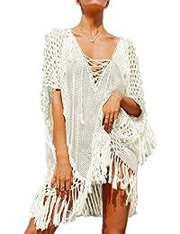 L-Peach Femme Eté Gland Paréo Tunique en Tricot Crochet Mini Robe de Plage  pour f5b38eef6ed6