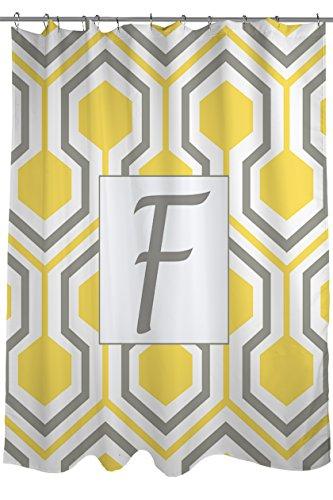Manuelle holzverarbeiter & Weavers Vorhang für die Dusche, Monogramm Buchstabe F, gelb Honeycomb