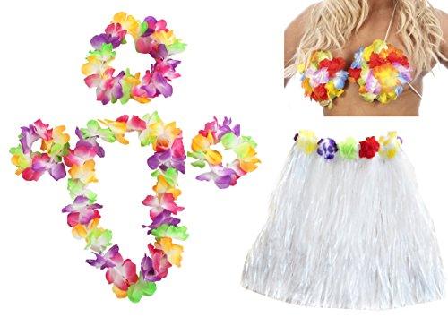 Kostüm Blumen Fancy Dress - Hawaii-Set Fancy Dress Kostüm-Set Farbige 40cm lang Hula Rock + Blume BH + Blume Lei Halskette + Paar Blume Armbänder + Blume Haarband 6Stück Hawaii Bastrock Luau