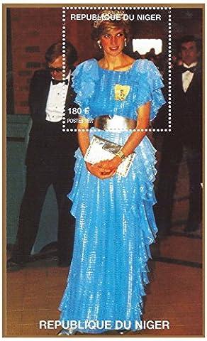 Princesse Diana timbre pour les collectionneurs - feuille de portrait miniature de la princesse de Galles / Niger / 1997
