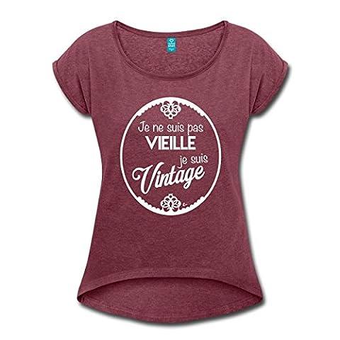 Déclaration Pas Vieille Je Suis Vintage T-shirt Femme à manches
