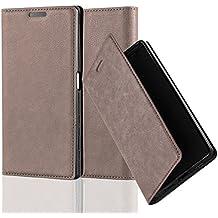 Cadorabo - Funda Book Style Cuero Sintético en Diseño Libro Sony Xperia Z5 - Etui Case Cover Carcasa Caja Protección con Imán Invisible en MARRÓN-CAFÉ