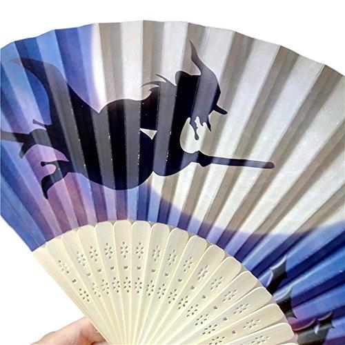 een Party Kürbis schädel spinne Hexe Handgeschnitzten Bambus Folding Fan Stil Holz(H, 23cm*40cm) ()