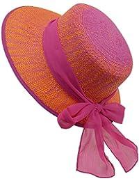 EveryHead Fiebig Sombrero De Papel Niña Gorro Equinácea Verano Vacaciones La Marca Moda Con Gradiente Cinta Gasa Para Niños (FI-69775-S18-MA2) Incl Hutfibel