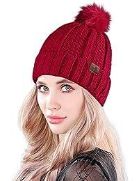 MUCO Cappello Donna Invernali Maglieria Beanie PON PON Cappello Caldo Sci  Bobble Hat 429a499eaa2b
