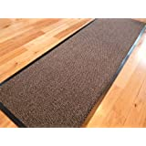 RUBBER BACK LARGE NARROW BIG HEAVY DUTY HARDWEARING PVC EDGE PILE KITCHEN UTILITY BARRIER RUNNER MATS BROWN & BLACK (180 CM X 60 CM) by RUGS 4 HOME