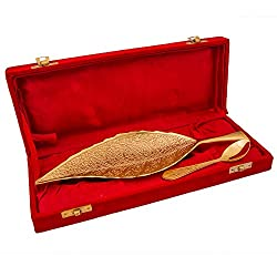 Adidev Brass designer Gold plated Dry fruit leaf tray with serving spoon