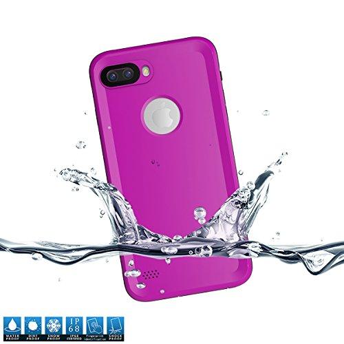 iPhone 7 Plus Wasserdichte Schutzhülle, Moonmini Ultra Slim Thin Wasserdicht Stoßfest Schmutzfester Ganzkörper Unterwasser Schutzhülle mit Button-Lager & Fingerabdruck ID für iPhone 7 Plus - Rot Lila