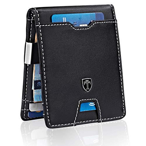 TRAVANDO Portafoglio uomo piccolo con protezione RFID 'MOSCOW' Porta carte di credito con clip per contanti, Portafogli Porta tessere slim tascabile, Portatessere Raccoglitore banconote