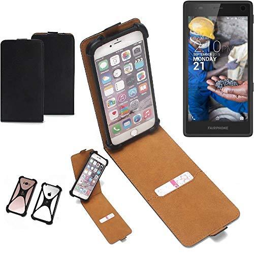 k-s-trade® custodia flipstyle per fairphone fairphone 2 copertina protettiva flip case flipstyle cover flipcover per smartphone c/bumper paraurti, nero (1x)