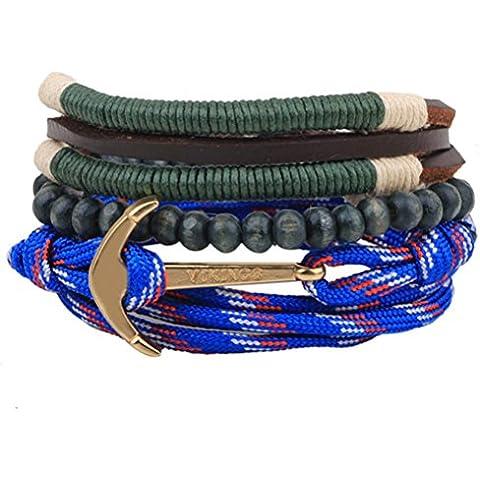 Invierno secreto de un patrón de anclaje aleación de mano cuerda trenzada azul de tres piezas de madera Cuentas Multi Strand Wrap